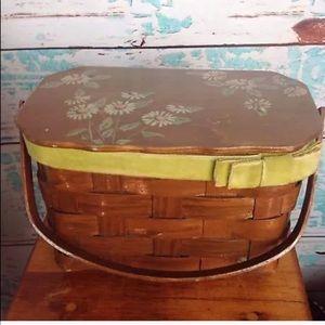Vtg Floral Wood Woven Basket Purse Handbag 70s